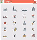 India travel icon set