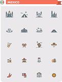 Mexico travel icon set