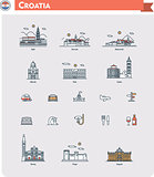 Croatia travel icon set