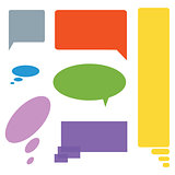 Comic cloud speech bubbles colored set of seven