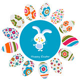 rabbit and colorful easter eggs