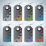 Set of the colorful tags on white background.