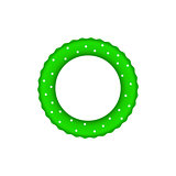 Green pool ring with white dots
