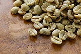 green coffee beans close-up, healthy food