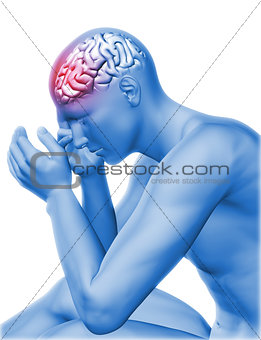 3D male figure holding head