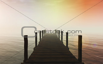 3D jetty over sea