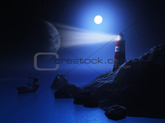 3D lighthouse with ship on sea