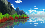 3D mountains and trees