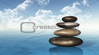 3D pebbles on sea