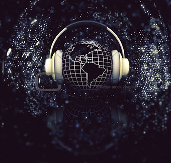 3D globe with headphones