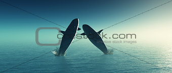 3D whales jumping in the sea