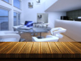 Wooden table with defocussed cafe bar image