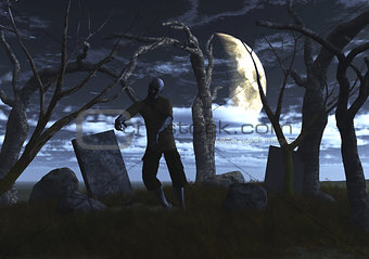 3D zombie in a graveyard