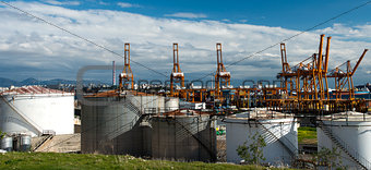 oil tanks in the port