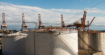 Oil tanks on the Perama port