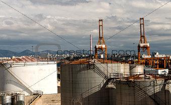 oil tanks on the port