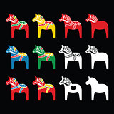 Swedish Dala, Dalecarlian horse vector icons on black