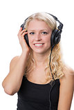Young blond girl wearing headphones