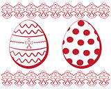 Vector Easter set. Eggs with a pattern and a border
