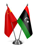China and Libya - Miniature Flags.