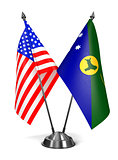 USA and Christmas Island - Miniature Flags.