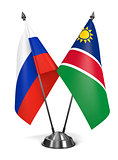 Russia and Namibia - Miniature Flags.