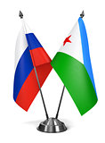 Russia and Djibouti - Miniature Flags.