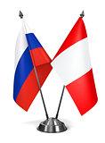 Russia and Peru - Miniature Flags.