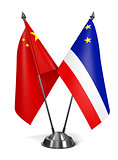 China and Gagauzia - Miniature Flags.
