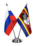 Russia and Swaziland - Miniature Flags.