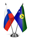 Russia and Christmas Island - Miniature Flags.
