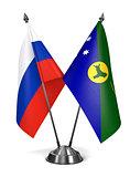 Russia and Christmas Island - Miniature Flags.