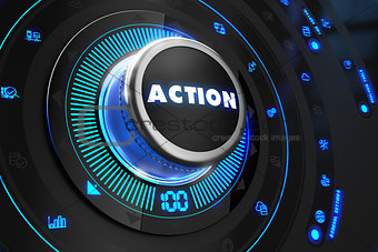 Action Button with Glowing Blue Lights.
