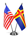 USA and Aland - Miniature Flags.