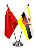 China and Brunei - Miniature Flags.