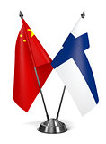 China and Finland - Miniature Flags.