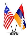 USA and Nagorno-Karabakh - Miniature Flags.