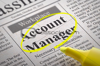 Account Manager Vacancy in Newspaper.