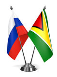 Russia and Guyana - Miniature Flags.