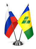Russia, Saint Vincent and Grenadines - Miniature Flags.