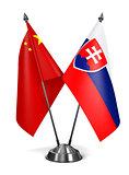 China and Slovakia - Miniature Flags.