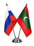 Russia and Maldives - Miniature Flags.