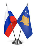Russia and Kosovo - Miniature Flags.