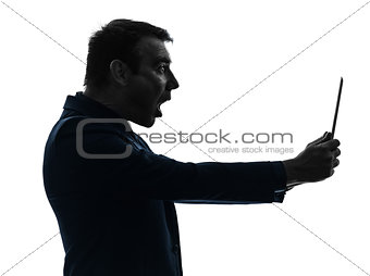 business man  digital tablet surisped shocked silhouette