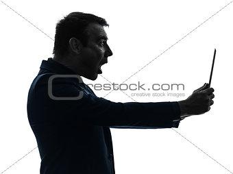 business man  digital tablet surisped shocked silhouette