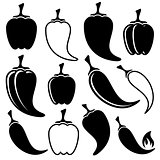 Vector black peppers icons