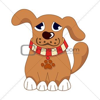 Cartoon puppy, vector illustration of cute dog