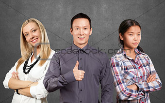 Asian team and businesswoman with crossed hands