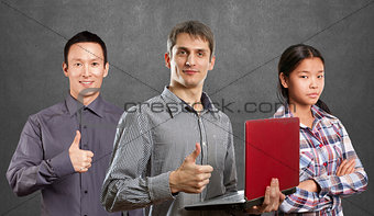 Asian team and man with laptop in his hands and woman