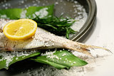 Fish tale with lemon, salt and herbs
